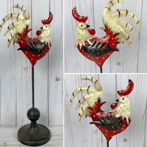 Metal Rooster Decor Lightweight Red, Cream, Bronze